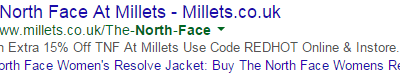 Google AdWords Campaign / Spelling Fail – Millets Outdoor Store