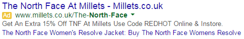 Millets Outdoor Store Google Adwords Ad