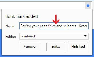 SEO Page Title in Google Chrome Bookmark