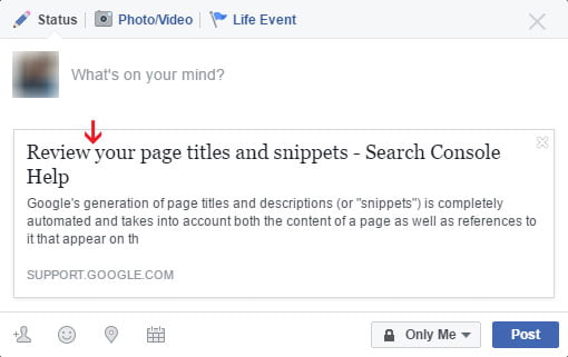 SEO Page Title in Shared Facebook Post